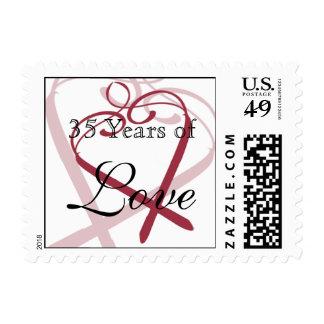 Wine Red Hand Drawn Heart Anniversary Love Stamp