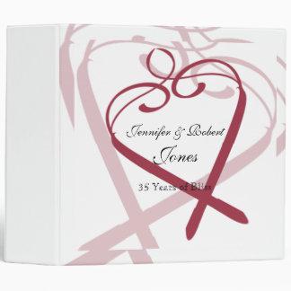 Wine Red Heart Anniversary Binder