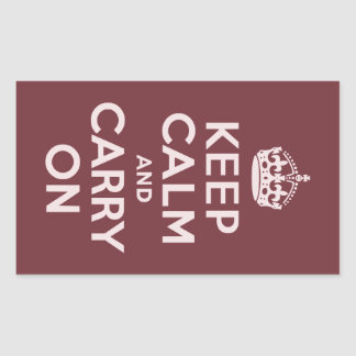 Wine Red Keep Calm and Carry On Rectangular Sticker