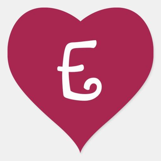 Wine Red Monogrammed Heart Sticker