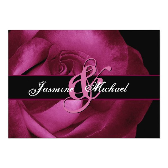 Wine Red Rose Wedding Template Card