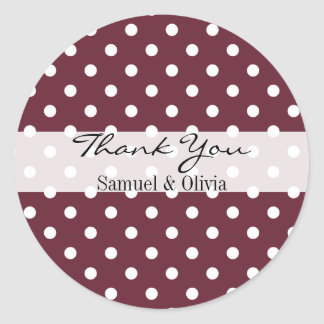 Wine Red Round Custom Polka Dotted Thank You Classic Round Sticker
