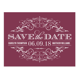 Wine Red Save the Date | Swirl and Flourish Post Card