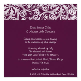Wine Red Scroll  Wedding Invitation