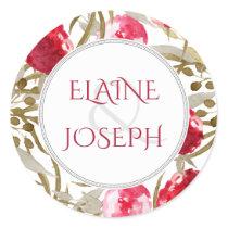 Wine Red Spring Floral Wedding Classic Round Sticker
