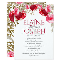 Red and Pink Floral Wedding Invites