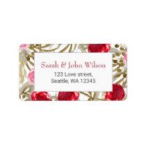 Wine Red Spring Floral Wedding Label