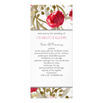 Wine Red Spring Floral Wedding Rack Card