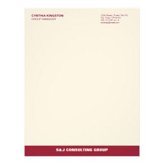 Wine red stripe ecru professional business company letterhead