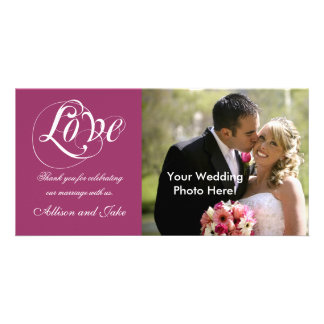 Wine Red Wedding Thank You Photo Card Template