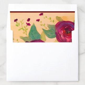 Wine Rose Envelope Insert For Invitations