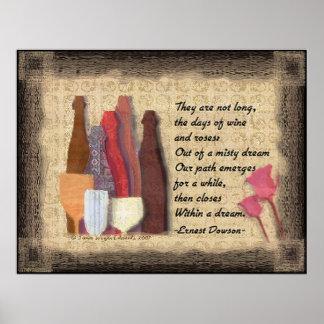 Wine & Roses Art Poem Poster