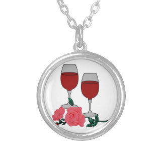 Wine & Roses Silver Plated Necklace