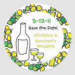 Wine Save the Wedding Date Stickers