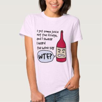 """Wine Says """"WTF?"""" (black text) T-shirt"""