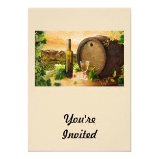 """Wine Scene in the Vineyard 5"""" X 7"""" Invitation Card"""