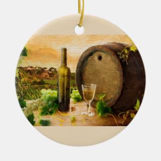 Wine Scene in the Vineyard Christmas Ornaments
