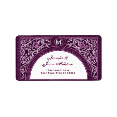 WINE SILVER Floral Arch Wedding Address Label by JaclinArt