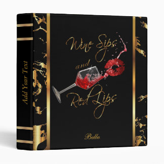Wine Sips and Red Lips Business Design Binder