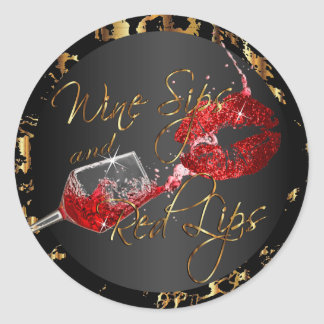 Wine Sips and Red Lips Classic Round Sticker