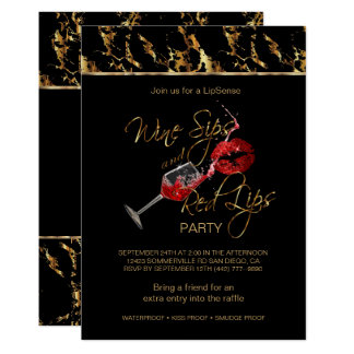 Wine Sips and Red Lips Lipsense Party Card