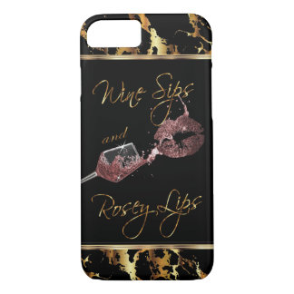 Wine Sips and Rosey Lips - Dusty Rose iPhone 8/7 Case
