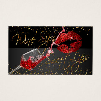 Wine Sips and Sweet Lips Business Card