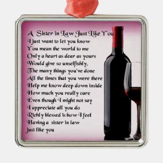 Wine   Sister in Law  Poem Metal Ornament