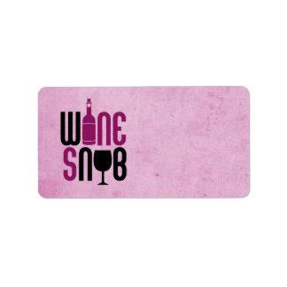 Wine Snob Address Label