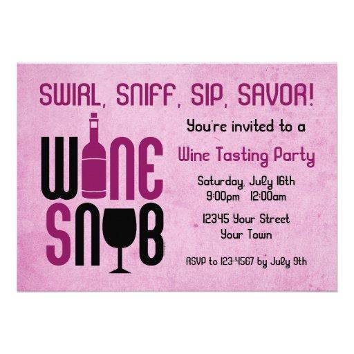 Wine Snob Wine Tasting Invitation | Zazzle