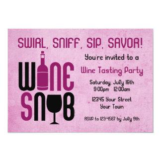 """Wine Snob Wine Tasting Invitation 5"""" X 7"""" Invitation Card"""