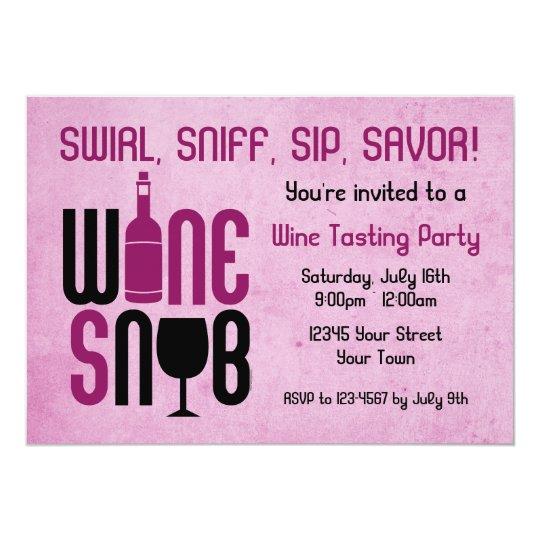 Wine Snob Wine Tasting Invitation