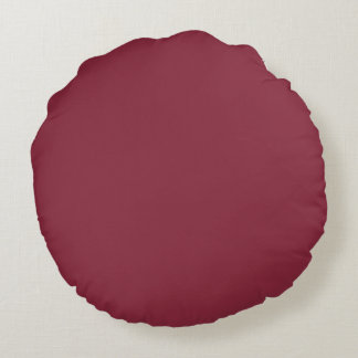Wine Solid Color Round Pillow