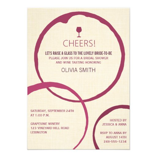 Wine Stain Rings Bridal Shower Invitations