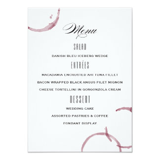 Wine Stains Winery Vineyard Wedding Menu Card