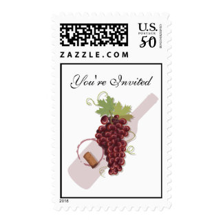 Wine Stamp with grapes and cork