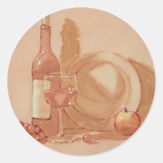 Wine Still Life Classic Round Sticker