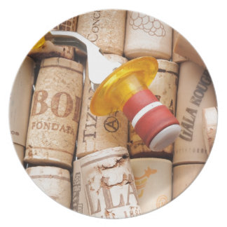 Wine Stopper On Laying Down On Corks Plates