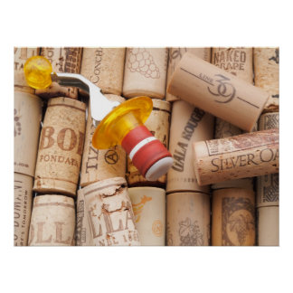 Wine Stopper On Laying Down On Corks Poster