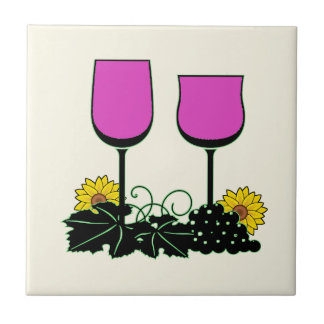 Wine & Sunflowers Small Square Tile