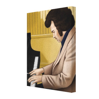 Wine taking give pianist from 70-talet canvas print