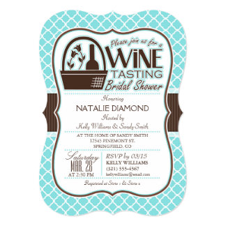Wine Tasting; Aqua Quatrefoil Bridal Shower Card