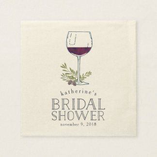 Wine Tasting Bridal Shower Paper Napkin