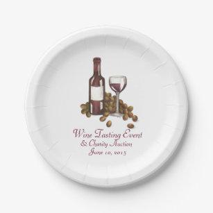 Wine Tasting Cocktail Party Bottle Glass Grapes Paper Plate  sc 1 st  Zazzle & Wine Plates | Zazzle