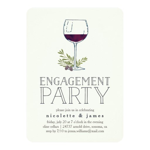 Wine tasting engagement party invitation zazzle for Engagement party invitations with photo