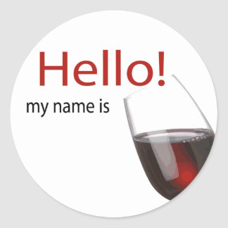 Wine tasting hello name tag classic round sticker