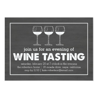 Wine Tasting Party Black & White Chalkboard Card