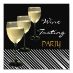 Wine Tasting Party Drinks Glasses Black White Personalized Invites