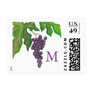 Wine Tasting Party Grapes Monogram Postage