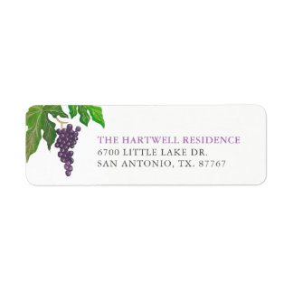 Wine Tasting Party Grapes Return Address Label